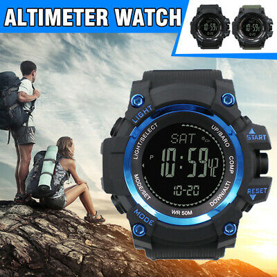 Mens Digital Army Sports Watch Waterproof Altimeter Barometer Compass