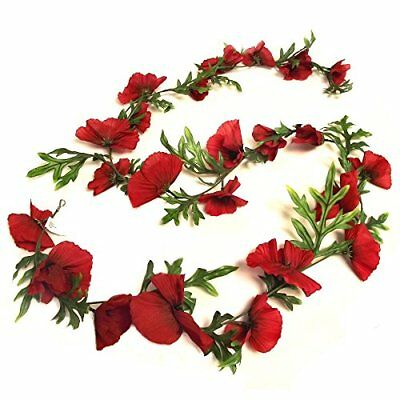 6ft Artificial Poppy Flower Garland - Flame Red - Decorative Remembrance Day