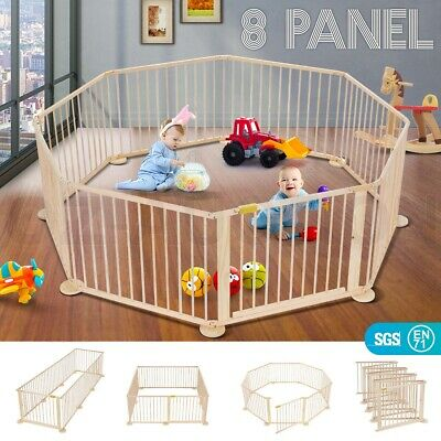8-Panel Wooden Pet Kids Baby Playpen Foldable & Removable - Burlywood