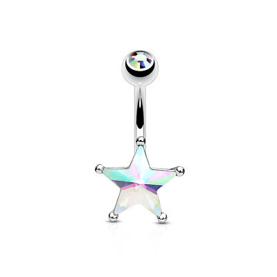 Surgical Steel Double Gem Style Crystal Ab Star Belly Bar