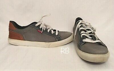 35b1b04f Mens Levis Levi's Gray Brown Flat Skater Sneakers Shoes Size 13 Canvas Lace  Up