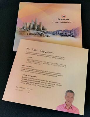 WITH FOLDER - Singapore $20 Twenty dollars commemorative 2019 Bicentennial, UNC