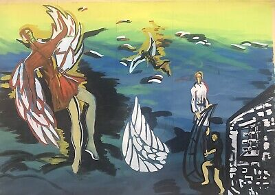 1950's FRENCH MODERNIST VERY LARGE PAINTING - ICARUS FLYING NEAR THE SUN