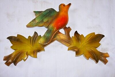 "Vintage Wooden Leaves Birds Cuckoo Clock Parts Top Topper 10 7/8"" 16#1cf .."