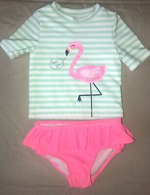 d1f62ee35 CARTERS BABY GIRL 24 Months Flamingo Bathing Suit Swim Two Piece Guc ...