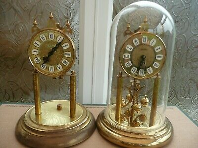 S Haller, Simonswald, 2 Anniversary Clocks, 1 Glass Dome. Parts or Restoration.
