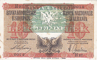 10 Lek Very Fine Banknote From  Albania 1945 Pick-11A With Error Overprint Rare