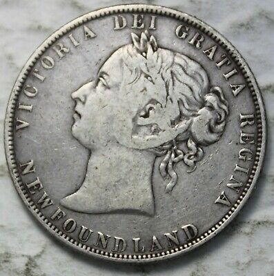 Newfoundland 1900 Sterling Silver 50 Cents, Old Date Queen Victoria