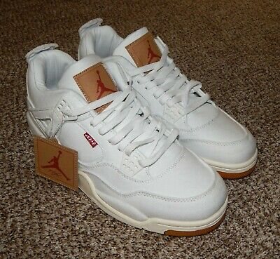 Levi's X Nike Air Jordan Retro NRG White Denim Shoes NEW Size 11 AO2571-100