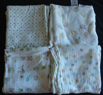4 Too Good by Jenny Baby Swaddle Blankets LOT Polka Dots Jungle Animals Peace