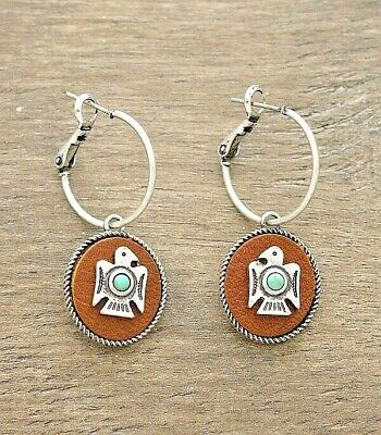 Thin Small Silver Hoop Earring Brown Leather Tab Thunderbird Turquoise Western