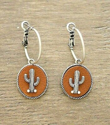 Pretty Thin Small Silver Hoop Earring Brown Leather Tab Cactus Western Gypsy