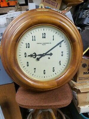 "Large 25-1/4"" Diameter Churchill Clockworks Wooden Frame Wind-Up Wall Clock"
