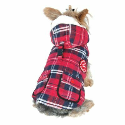 Pet Clothes Red Plaid Dog Puppy Vest Jacket Stuffed Parka With Hat For Dog