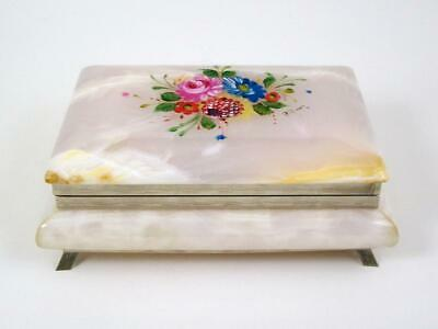 Vintage Footed Onyx Box Trinket Jewelry Hand Painted Floral Silver Tone Feet