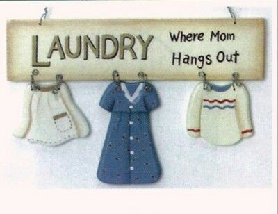 """Laundry where mom hangs out Room Sign country Primitive Wooden Home Decor 8x5"""""""