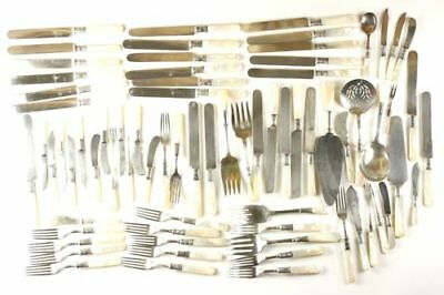 Vintage Flatware Set 74 pc. Assorted - Sterling Bands AS IS Cream Handles