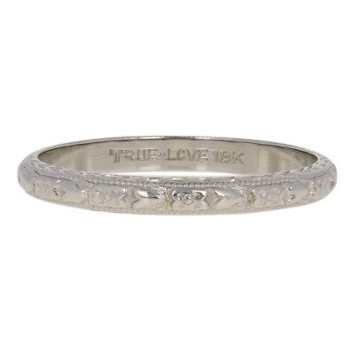 Art Deco Etched Floral Wedding Band - 18k White Gold Vintage Women's Ring 7 1/2