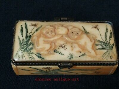Collection Old Chinese Tibet Hand-carved vivid Monkey Statue Snuff Box Trinket