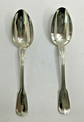 Pair of French Serving Spoons Metal Alliages Blanc 22cm Long