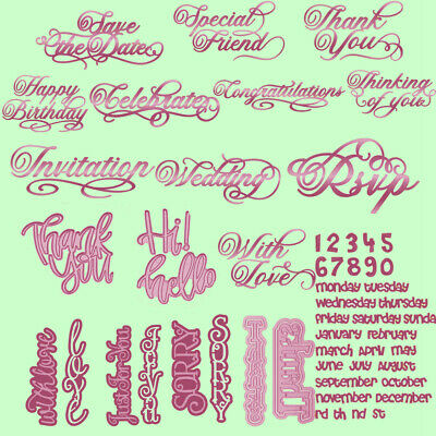 Daily Pharses Number Cutting Dies Stencil Scrapbooking Album Embossing DIY Craft