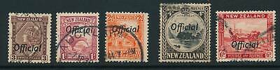 NEW ZEALAND, 1936 5 OFFICIAL stamps