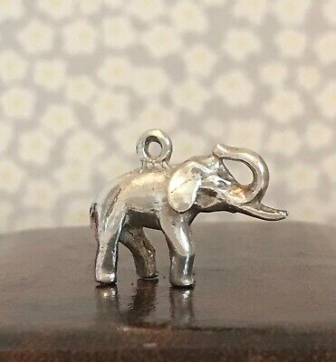 Vintage Elephant with Tusks ~ Trunk Up ~ Sterling Silver Large Charm Heavy 7.68g