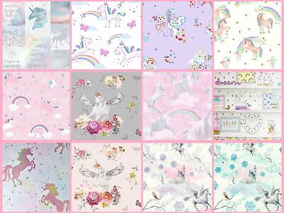 Girls Unicorn Wallpaper Children's Pink White Glitter Rainbow Butterflies Floral