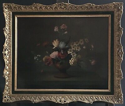 Fine Quality Antique French Oil Painting - Classical Still Life Flowers In Vase