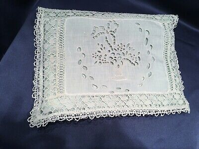 Antique Handmade Embroidered + Lace Trimmed Vanity Pillow Case Aqua Silk Lining