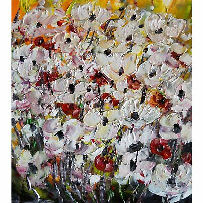 Country Flowers Field White Red yellow Green Beautiful Impasto Oil Painting Art