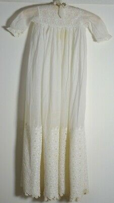Antique Edwardian Christening Gown White Work Embroidery Uu623