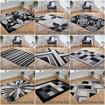 Small Large Floral Blocks Stripes Silver Grey Clearance Sale Area Low Cost Rugs