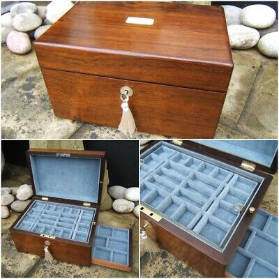 Terrific Early 19C Figured Rosewood Antique Jewellery/Vanity Box - Fab Interior