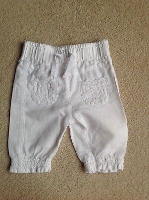 NEXT Baby Girl's White Linen Trousers with Pockets Age 0-3 Months