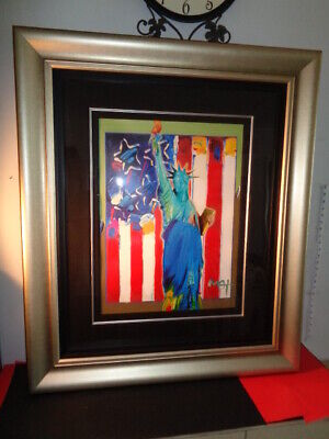 """Peter Max 2005  """"United We Stand II"""" 911 Series Mixed Media w/ Acrylic Painting"""