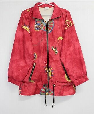 Vintage 80s Astrological Signs Star Sun Moon Shell Jacket Track Suit Top M / L