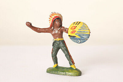 Hauser Elastolin Indianer mit Schild Arm angebrochen Elastolin Germany (34196)