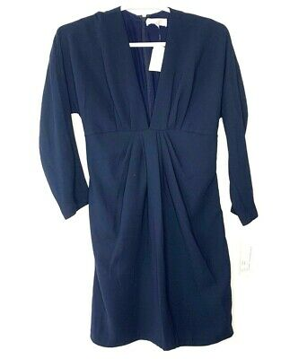 Badgley Mischka Womens Dress Size L Navy Blue V Neck Long Sleeve