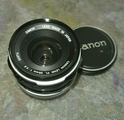 Canon FL 28mm f/3.5 Wide Angle MF Lens for SLR Made in Japan
