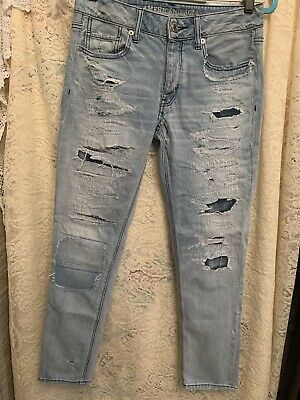 bc4b0dd8c73 American Eagle Outfitters Women's Tom Girl Ripped Jeans W Patches In Rips  Size 2