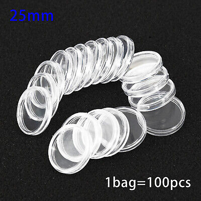 100Pcs 25mm Plastic Transparent Round Coin Case Holder Capsules Container Set S
