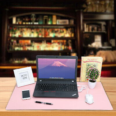 Dual Sided Blue PU Leather Desk Pad Mat Desk Blotter Protector 31.4X 15.7inch US