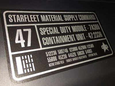 • Star Trek • Silver Foil Starfleet Containment Unit Prop Replica Label Decals •