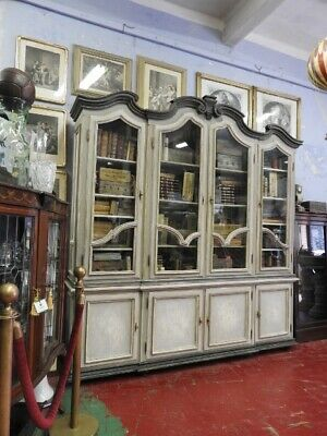 Antique Bookcase Display French Classic Fine 800 Lacquer Grey Blue Pearl Powder