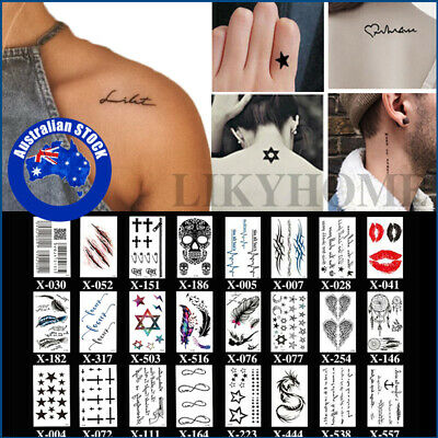 4X Temporary Tattoo Sticker Small Waterproof Leg Clavicle Fake Tattoos Body Art