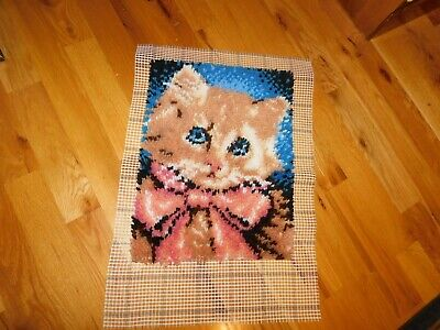 Kitten Latch Hook Panel COMPLETED Handmade Ready to Make into Rug