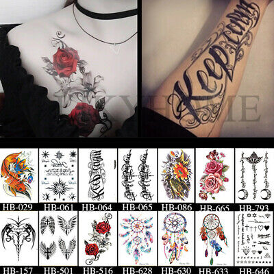 2Pcs Temporary Tattoo Sticker Waterproof Large Fake Tattoos Removable Body Art-A