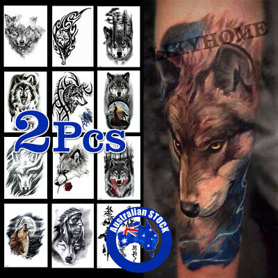 2Pcs Temporary Tattoo Sticker Wolf Waterproof Fake Tattoos Removable Body Art-C