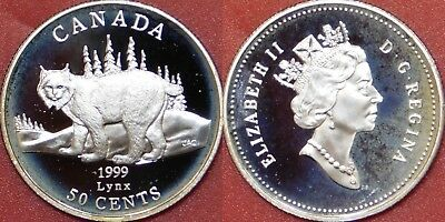 Proof 1999 Canada Lynx Silver 50 Cents From Mint's Set